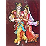 "Dolls Of India ""Krishna Steals Milkpot From Radha"" Reprint On Card Paper - Unframed (29.21 X 22.86 Centimeters..."