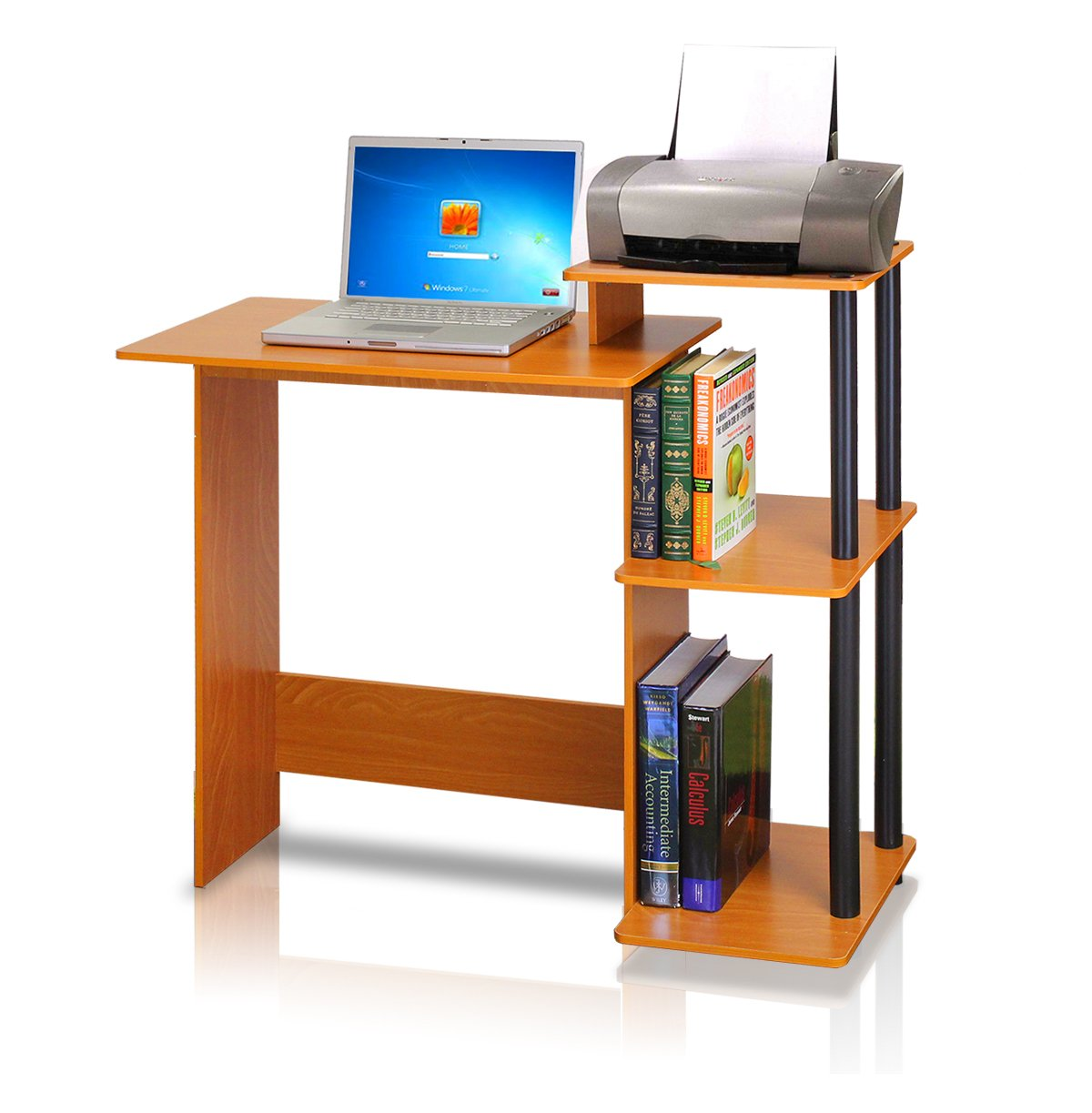 Superior Computer Desk Laptop Table With Raise Monitor Printer Shelf Student Home  Office