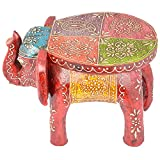 Rajgharana Handicrafts Multi Color Wooden Painted Elephant Style Seat - (22 Cm X 17 Cm X 17 Cm)