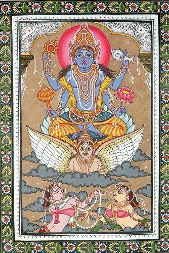 Lord Vishnu Sets out to Inspect the Universe – Patachitra Folk Art