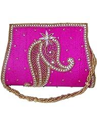 Moksh Rani Pink Dupion Silk Clutch A264RP200