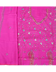 Exotic India Raspberry-Rose Tusha Salwar Kameez Fabric From Kashmir With - Pink
