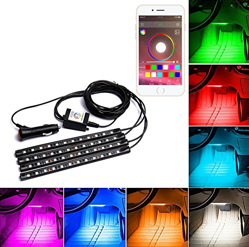 Tik-Tik 4-Piece Multicolor LED Interior Underdash Lighting KitBy APP Bluetooth Controller for iPhone Android