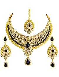 Ameeyo Faux Pearl Traditional Bridal Necklace Set For Women (NLBL0039BLK)