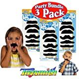 "Toysmith ""Peel & Stick"" Fake Fuzzy Mustaches (Moustaches) Party Set Bundle 3 Pack (18 Mustaches Total)"