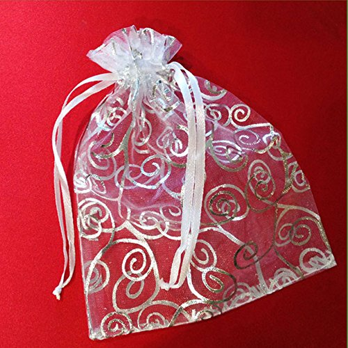 50 Organza Gift Bags, White with Silver Details, 4.5x6