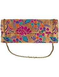 JaipurSe Golden Clutch With Multicolor Flower Self Design Party Wear Ladies Evening Clutch Handbag With Drop-in...
