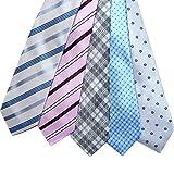 【ノーブランド品】 洗える ウォッシャブル ビジネス ネクタイ 5本セット グレーストライプ柄×ピンクストライプ柄×グレーチェック柄×ライトブルードット柄×グレー小紋柄