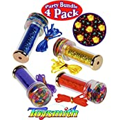 "Toysmith Liquid Spin Metallic Kaleidoscopes (3.25"") With Lanyard Red, Blue, Purple, & Gold Gift Set Party Bundle..."