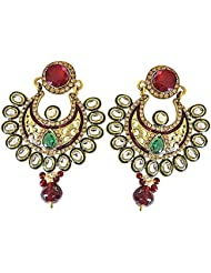 Surat Diamonds Ethnic Polki, Red & Green Stone & Gold Plated Chandbali Earrings For Women (PSE56)