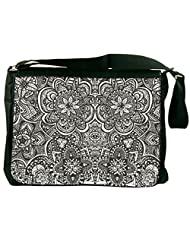 Snoogg Black And White Abstract Computer Padded Compartment Carrying Case Laptop Notebook Shoulder Messenger Bag...