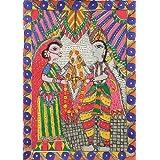 "Dolls Of India ""Sita's Swayamvar"" Madhubani Folk Art On Paper - Unframed (38.10 X 27.94 Centimeters)"