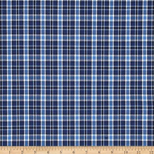 Poly/Cotton Uniform Plaid Navy/Blue/Black/White Fabric