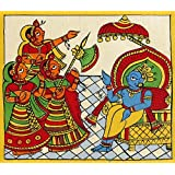 """Dolls Of India """"Krishna As The King Of Dwarka"""" Phad Painting On Cloth - Unframed (15.24 X 13.97 Centimeters)"""