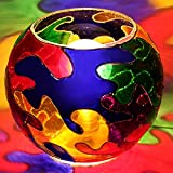 EarthenMetal Handcrafted Circular Shaped Hand Painted Multicoloured Glass Table Lamp