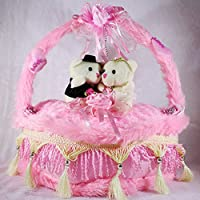Pink Decorated Heart Cake Plush Cushion With Love Couple Bears