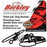 Berkley P5XSB Brass Plated/Stainless Steel Cross-Lok Snap/Swivels (Pack Of 4), Black, Size-5
