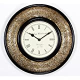 """Home And Bazaar Traditional Rajasthani Wall Clock With Brass Finish 12"""" - B00YLP7Y86"""