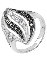 4.90 Grams Marcasite & White Cubic Zircon .925 Sterling Silver Ring
