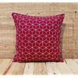 Dark Red Throw Pillow Cover Cotton Cushion Cover Embroidered Geometric Pattern Bohemian Moroccan Standard Size...