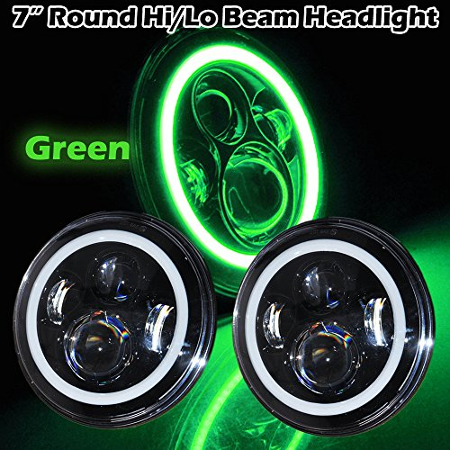 Omotor Pair 40W 7 Inch Round Osram Led Headlight Bulb Green Halo Angle Eyes High/Low Beam Jeep 97-15 Wrangler JK LJ TJ (7 Inch Round Halo Black Housing) Motorcycles Headlight