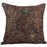 Svisti Raw Silk Single Piece Cushion Cover-Black, 40.64 Cm X 40.64 Cm