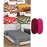 Peponi Combo Offer Printed Double Bed Super Lite Blanket Pack Of 5 With 2 Door Mat Free