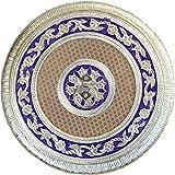 Crafticia Craft Traditional Rajasthani Handicraft Circular Wooden Dry Fruit Box (20 Cm X 20 Cm X 6 Cm)