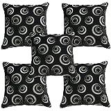Idrape Velvet 5 Piece Cushion Cover Set- Black, 40 Cm X 40 Cm