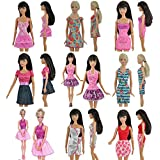 Teenitor 5pcs Fashion Mini Dress For Barbie Doll Handmade Short Party Gown Clothes