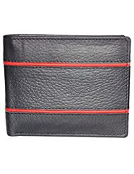 Style98 Black And Red Genuine Leather Designer Wallet With Coin Pocket For Men - B017P5YDDC