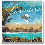 "Relax At The Beach 4 Single Coaster 3.6"" Sq. X .3"" D"