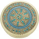 Kapasi Handicrafts Emporium Silver-Plated Decorative Dry Fruits, Sweets, Chocolates, Fancy Multipurpose Box Diwali Gift Box (24.76 X 24.76 X 6.35 Cm, AIN009207)