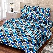 SEJ Geometrical Blue White Black 100 % Pure Cotton Double Bedsheet Set With 2 Pillow Covers(SBLW068D)