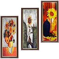 Wens Beauty View Flower MDF Wall Art (28 Cm X 13.5 Cm X 1 Cm, Set Of 3)