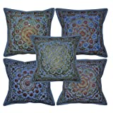 Handcrafted Mirror Work Design Jaipuri Hand Embroidery Pillow Cushion Cover Set Of 5 Pcs 16x16 Inches