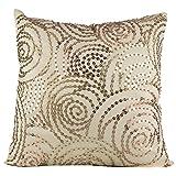 Shaun Design Dupion Silk 1 Embroidered Cushion Cover - Light Golden, 40 Cm X 40 Cm
