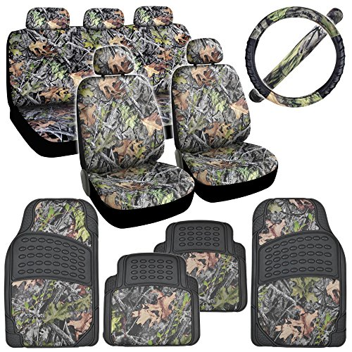Hawg Camo Seat Covers Heavy Duty Rubber Floor Mats w/ Camouflage Inlay & Cushion Grip Steering Wheel Cover Set