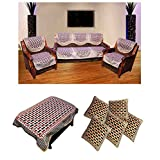 Hargunz Combo Of Polyester Striped Sofa Cover,table Cover And 5 Cushion Covers(set Of 16 Pieces),Multi(VSSC00...