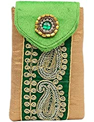 Bagaholics Ethnic Raw Silk Saree Clutch Mobile Pouch Waist Clip Ladies Purse Gift For Women - B01KK0IN3K