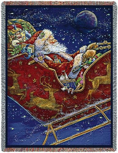 Midnight Ride Santa Tapestry Throw Blanket