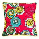 "Chumbak Umberlla Cotton Cushion Cover - 16"" X 16"", Multicolor"