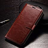 Febelo Premium Quality PU Leather Magnetic Lock Wallet Flip Cover Case For Moto E3 Power - Brown Color