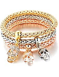 Hot And Bold Gold Plated Dangling Skull Charm Multilayer Bangle Set For Women