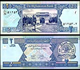 AFGHANISTAN 2 AFGANIS 2002 P 65 UNCIRCULATED PAPER MONEY BANKNOTE
