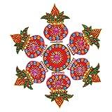 Creations 7 Piece Wooden Rangoli With Kundan Work RAN0004 (30 Cm * 30 Cm * 0.5 Cm)