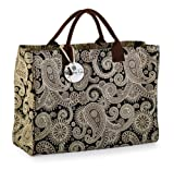 Mud Pie Black Paisley Essential Tote Bag