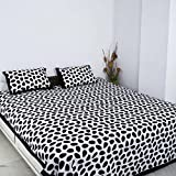 JR Print Polka Dot Traditional Double Bedsheet King Size 100% Cotton Multicolor ,Black,White