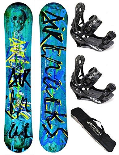 AIRTRACKS SNOWBOARD SET / SKULL SNOWBOARD WIDE ROCKER + SOFTBINDUNG SAVAGE + SB BAG / 150 153 158 / cm