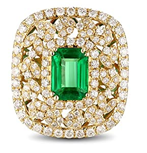 Designer 2 Carat Emerald and Diamond Engagement Ring in Yellow Gold